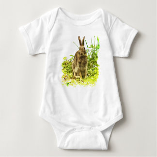 Sweet Brown Bunny Rabbit in Grass Baby Bodysuit