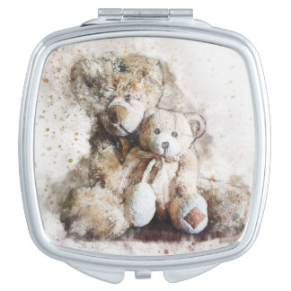 Sweet Brown Teddy Bear Square Compact Mirror