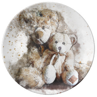 Sweet Brown Teddy Bears Decorative Dinner Plate