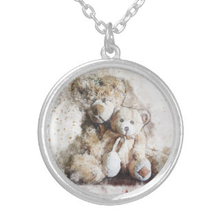 Sweet Brown Teddy Bears Silver Plated Necklace