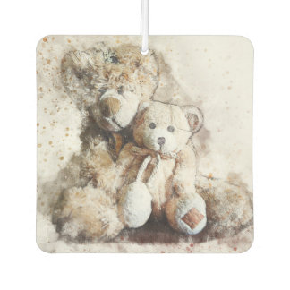 Sweet Brown Teddy Bears Square Air Freshener
