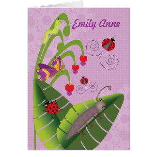 Sweet Bugs Kids at Camp Personalized Name for Girl Card
