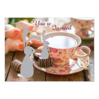 Sweet Bunny and Tea Cup 1st Birthday Invitation