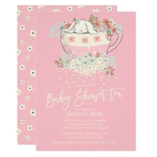 Sweet Bunny Tea Pink Girls Baby Shower Invitations