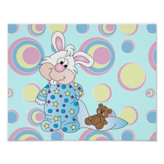 Sweet Bunny with Blanket and Teddy Bear Poster