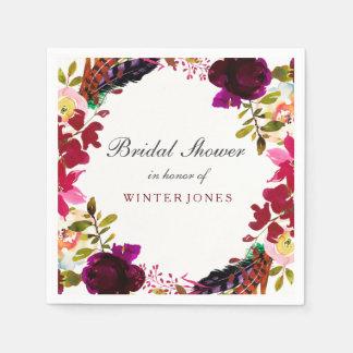Sweet Burgundy Purple Floral Wreath Bridal Shower Disposable Serviette