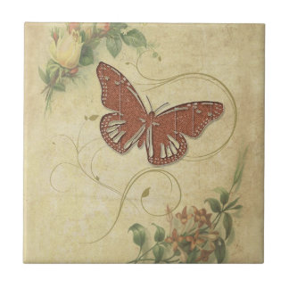 Sweet Butterfly ID198 Small Square Tile