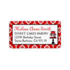 Sweet Cake Address Label Red