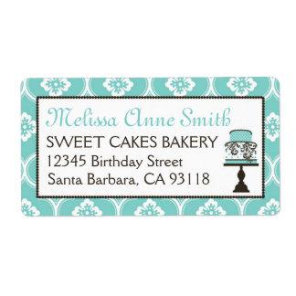 Sweet Cake Business Shipping Label Turq