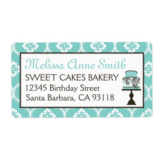 Sweet Cake Business Shipping Label Turq