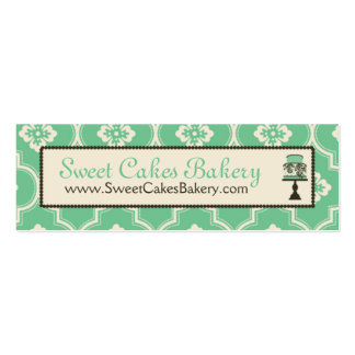 Sweet Cake Skinny Business Card Teal