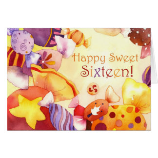 Sweet Candies for Sweet 16th Birthday Card