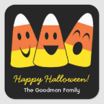 Sweet candy corn fun cute Halloween favour tag Square Sticker