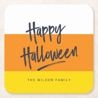 Sweet Candy Corn Happy Halloween Square Paper Coaster