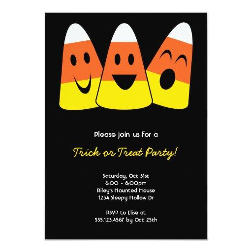 "Sweet candy corn trio trick or treat Halloween 5"" X 7"" Invitation Card"