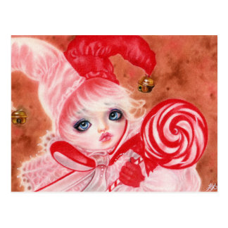 Sweet Candy court jester  Christmas Postcard