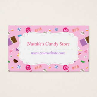 Sweet Candy Pattern Pink Business Card