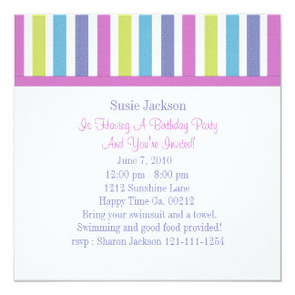 Sweet Candy Postage Stamps 13 Cm X 13 Cm Square Invitation Card