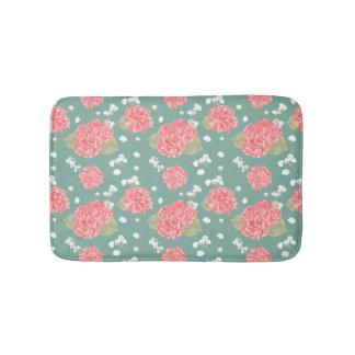 Sweet Carnation Flower Seamless Pattern Bath Mat