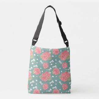 Sweet Carnation Flower Seamless Pattern Crossbody Bag