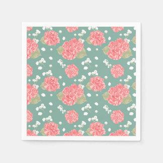 Sweet Carnation Flower Seamless Pattern Paper Napkins