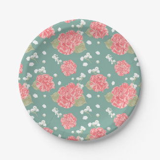 Sweet Carnation Flower Seamless Pattern Paper Plate