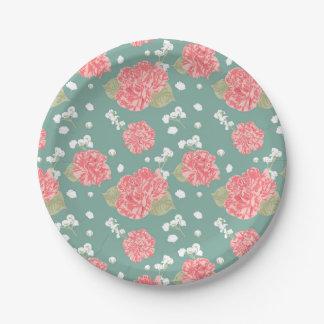 Sweet Carnation Flower Seamless Pattern Paper Plate