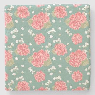 Sweet Carnation Flower Seamless Pattern Stone Coaster
