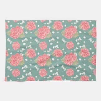 Sweet Carnation Flower Seamless Pattern Tea Towel