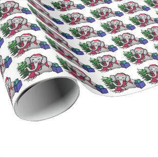 Sweet Cartoon Elephants on Snow White Ground Xmas Wrapping Paper