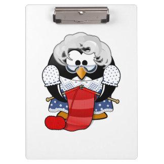 Sweet Cartoon Grandma Penguin Clipboard