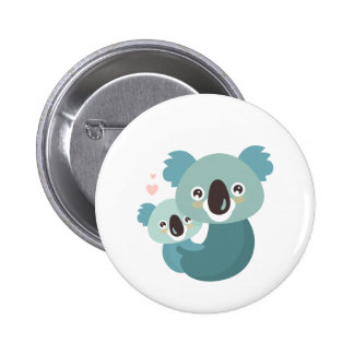 Sweet cartoon koala mother and baby hugging 6 cm round badge