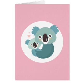 Sweet cartoon koala mother and baby hugging card