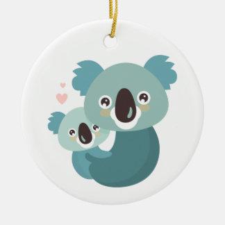 Sweet cartoon koala mother and baby hugging ceramic ornament