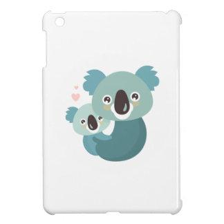 Sweet cartoon koala mother and baby hugging iPad mini cover