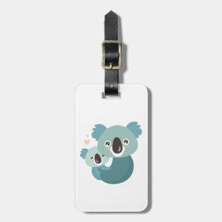 Sweet cartoon koala mother and baby hugging luggage tag