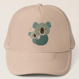 Sweet cartoon koala mother and baby hugging trucker hat