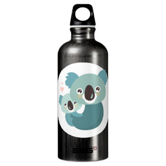 Sweet cartoon koala mother and baby hugging water bottle