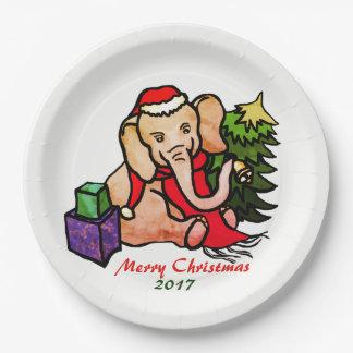 Sweet Cartoon Merry Christmas Santa Elephant Paper Plate