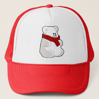 Sweet Cartoon Polar Bear In Red Scarf Trucker Hat