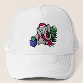 Sweet Cartoon Santa Elephant Sitting in the Snow Trucker Hat
