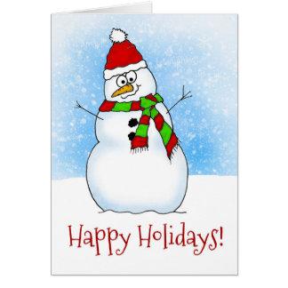 Sweet Cartoon Snowman Happy Holidays Card