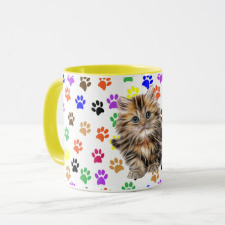 Sweet Cat And Her Colorful Footprints Mug
