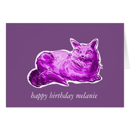 sweet cat british shorthair kitty cartoon style card