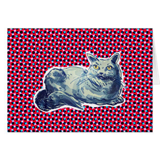 sweet cat british shorthair kitty cartoon style card