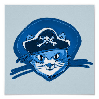 sweet cat face wearing pirate hat cartoon poster