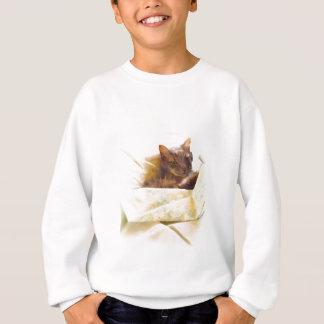 Sweet cat in bed sheets sweatshirt