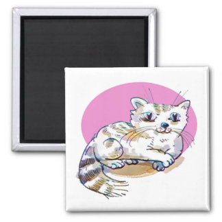 sweet cat lying down cartoon magnet
