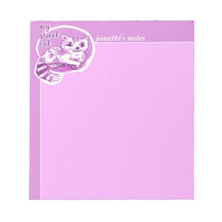sweet cat lying down cartoon notepad
