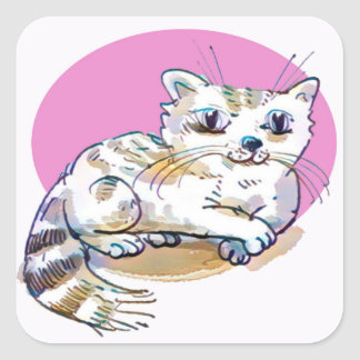 sweet cat lying down cartoon square sticker